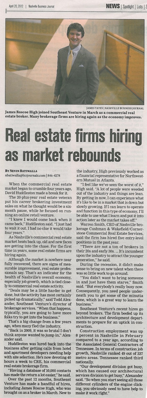 "042012 NBJ ""Real estate firms hiring as market rebounds"""