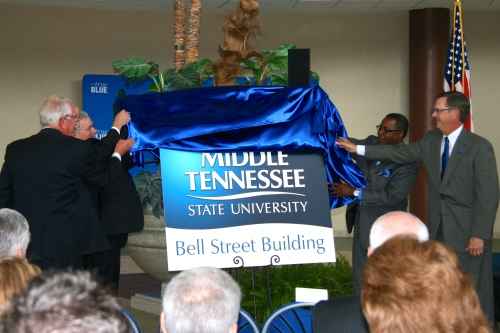 Unveiling of Bell Street Building sign